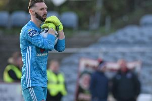 Derry City keeper, Peter Cherrie produced crucial saves at the Showgrounds.