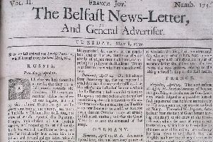 The front page of the Belfast News Letter of May 8 1739 (which is May 19 in the modern calendar)