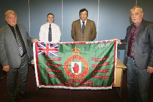 Members of the Loyalist Communities Council (from left) Jim Wilson, Winston Irvine, David Campbell and Jackie McDonald
