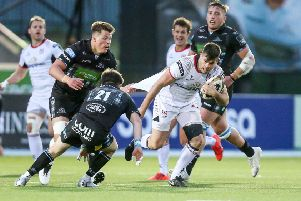 Ulster's ''Louis Ludik on the attack against Glasgow