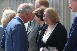 Prince Charles talks to Secretary of State Karen Bradley at Castle Coole on the outskirts of Enniskillen