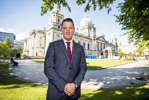 John Finucane, Sinn Fein councillor for Belfast City Council, poses ahead of his formal election as Lord Mayor of Belfast.  Photo credit: Liam McBurney/PA Wire