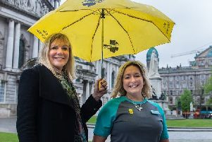 Belfast City Council CEO Suzanne Wylie, left, with EE store manager at Victoria Square Karen Dundas