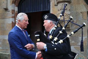 LURGAN, NORTHERN IRELAND - MAY 22:  Prince Charles, Prince of Wales visits Brownlow House, home of Lugan District Loyal Orange No.6, on the second day of his tour of Northern Ireland on May 22, 2019 in Lurgan, Northern Ireland.  (Photo by Owen Humphreys - WPA Pool/Getty Images)