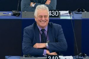 Jim Nicholson listens to praise from the speaker after speaking in the plenary session at the European Parliament in Strasbourg on Wednesday March 27 2019, one of his last ever speeches as an MEP in the chamber after 30 years as an NI representative there