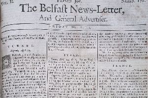 The front page of the Belfast News Letter of May 18 1739 (which is May 29 in the modern calendar)