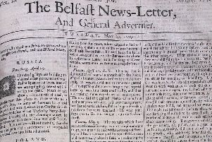 The front page of the Belfast News Letter of May 22 1739 (which is June 2 in the modern calendar)