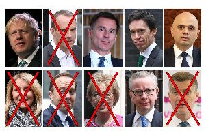 Top row, from left: Boris Johnson, Dominic Raab, Jeremy Hunt, Rory Stewart, Sajid Javid. Bottom row, from left: Esther McVey, Matt Hancock, Andrea Leadsom, Michael Gove and Mark Harper. Pic: PA Wire