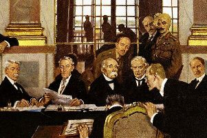 A section of William Orpen's oil painting 'The Signing of Peace in the Hall of Mirrors, Versailles, 28 June 1919'
