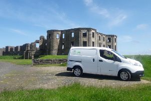 The new electric van at the National Trust site at Mussenden Temple
