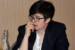 Lyra McKee at a public event in Londonderry a number of years ago