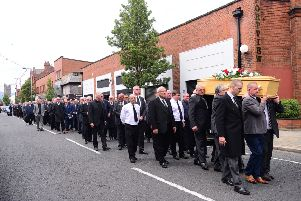 The funeral of Sammy Pavis, ex-Linfield and Glentoran footballer, took place today at James Brown & Sons Funeral Home, Newtownards Road in Belfast. Picture by: Arthur Allison.
