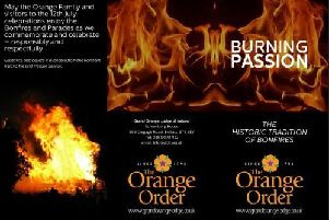 The Orange Order's Burning Passion leaflet.