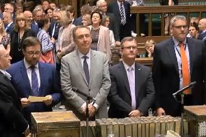 The moment in the House of Commons when an amendment in favour of same sex marriage for Northern Ireland was passed by 383 votes to 73 votes. The DUP MPs Jeffrey Donaldson, second from right, and Gavin Robinson, right, were tellers against the amendment. July 9 2019. Legacy was also debated at length. Screengrab from Parliament TV