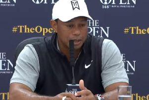 Tiger Woods pictured at Tuesday's press conference at Royal Portrush Golf Club.