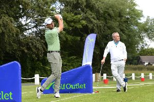 Pacemaker Press 16-07-2019: Official re-launch of the Golf Outlet at Knockbracken Golf Centre in Belfast. European Tour Professional, Sky Sports presenter and Chairman of the European Tour player's committee, David Howell, will was there to mark the event. David is joined by Clubs to Hire founder and Chief Executive Tony Judge.'Picture By: Arthur Allison.