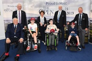 At Royal Portrush were (back row from left) Chris Hilton, captain of the R&A, Jackie Alliss, Geoff Goldsborough of Perrennials RFC, Michael Moss, former secretary/manager of Portstewart Golf Club.  Front row (from left) Peter Alliss, Saoirse Ryan-Lunn, James Little and Euin Moore
