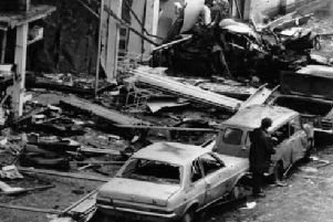 The aftermath of an UVF bomb attack in Dublin in May 1974