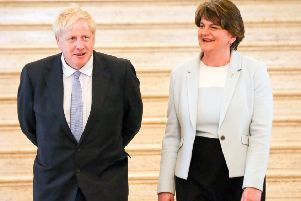 Boris Johnson with Arlene Foster after a meeting in Stormont earlier this month