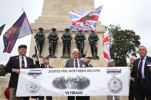 Former soldier Dennis Hutchings, who is facing charges over a fatal shooting in NI in 1974, at a rally in support of veterans