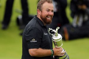 Open champion Shane Lowry with the Claret Jug at Royal Portrush on Sunday after his triumph