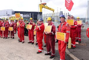 Workers at Harland and Wolff have maintained a protest at the gates of the shipyard since last Monday. Picture: Arthur Allison/Pacemaker.