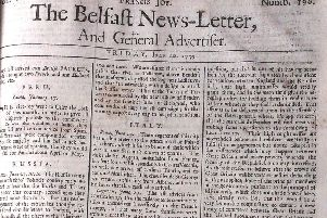 A front page of a Belfast News Letter from the summer of 1739