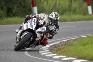 Michael Dunlop on the Tyco BMW during Superbike qualifying at Dundrod.