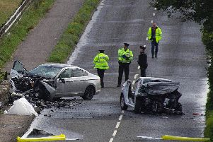The P.S.N.I. at the scene of the two vehicle road traffic collision near Articlave. (Photo: McAuley Multimedia)