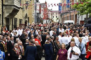 The scene outside the Apprentice Boys Memorial Hall before the start of Saturday's parade in Londonderry