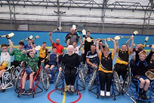 Undated handout photo issued by Presseye of Paralympic gold medallist Kelly Gallagher (front centre) during Ulster GAAs wheelchair hurling project in Cookstown, Northern Ireland