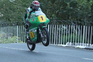 John McGuinness at Ballaugh Bridge on the Winfield Paton on Thursday evening. Picture: Dave Kneen/Pacemaker Press.