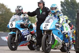 Michael Dunlop (Team Classic Suzuki) and Dean Harrison (Silicone Engineering Kawasaki) prepare to start the Classic Superbike qualifying session on Friday. Picture: Stephen Davison/Pacemaker Press.