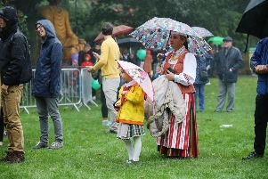 The 12th annual Belfast Mela at Botanic in late August 2018, with bad weather. August is a nice time to be in Northern Ireland, but the weather can be unreliable and late in the month almost autumnal. ''Photo by Kelvin Boyes/Press Eye