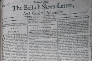 The front page of the Belfast News Letter of August 14 1739 (which is August 25 in the modern calendar)
