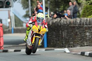 Onchan's Nathan Harrison at St Ninian's on his 600 Honda in the Senior Manx Grand Prix. Picture: Dave Kneen/Pacemaker Press.