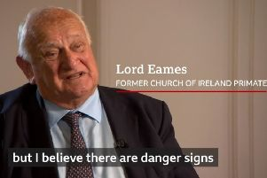 Lord Eames, former Church of Ireland Primate, in discussion with Brian Rowan for the BBC about a New Ireland. The subtitled words are part of his response to being asked whether the Union is safe.