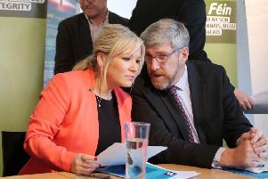 Michelle O'Neill with party colleague John O'Dowd.''Picture: Jonathan Porter/PressEye.com