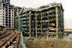 The aftermath of the 1996 Canary Wharf bomb