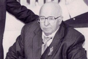 Veteran republican Joe Cahill at the official opening of the party's office in Dundalk in 1996.