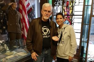 William and Ercelina Wolfe visiting NIWM last week to see William Wolfe senior's dogtag