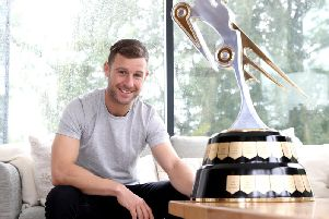 Jonathan Rea with the Irish Motorcyclist of the Year trophy. Picture: Stephen Davison/Pacemaker Press.