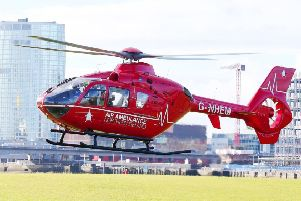 The Air Ambulance Northern Ireland was scrambled to the scene of the collision. (Library Image)