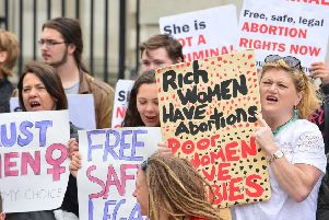 A pro-choice protest outside Belfast High Court (archive image)