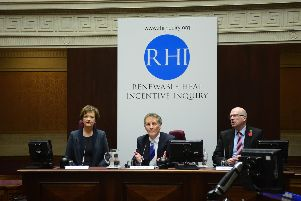 Inquiry chairman Sir Patrick Coghlin, centre, alongside inquiry panel member Dame Una O'Brien and technical assessor Keith MacLean