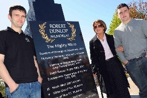 William Dunlop at the unveiling of his father Robert's memorial garden in Ballymoney in 2010 with his mum, Louise and brother, Michael.