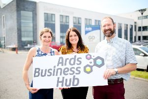 Solicitor Janeen McKay has joined the board of Ards Business Hub. She is pictured with Chief Executive Nichola Lockhart and board Chair David Blevings