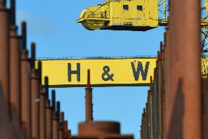 Harland and Wolff workers continue their protest at the Belfast shipyard regarding the future of the company. Picture: Jonathan Porter/PressEye