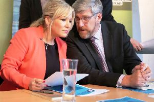 Sinn Fein vice president Michelle O'Neill with John O'Dowd at a party event in 2017.   ''Picture by Jonathan Porter/PressEye.com