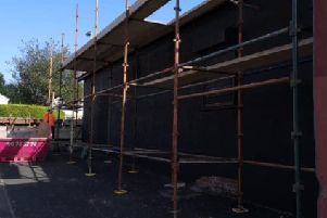 The scaffolding belonging to DB Scaffolding had to be removed at short notice after the company was warned to leave the Ardoyne for its own safety.